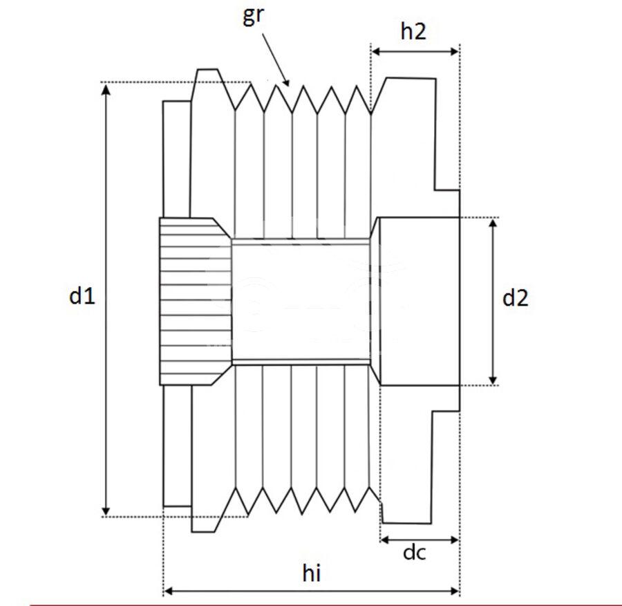 Шкив генератора обгонныйKRAUF APB2210DD (F55162301)