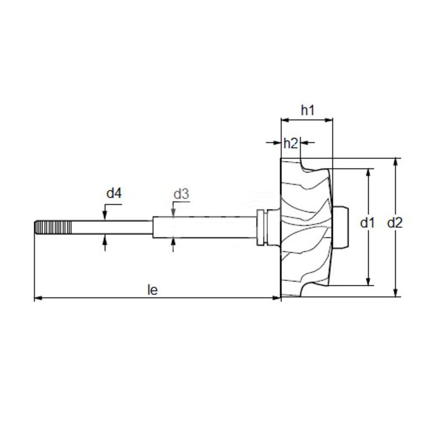Вал турбокомпрессора MST0453