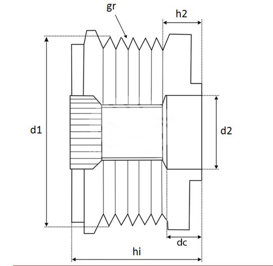Шкив обгонный генератора APV8801
